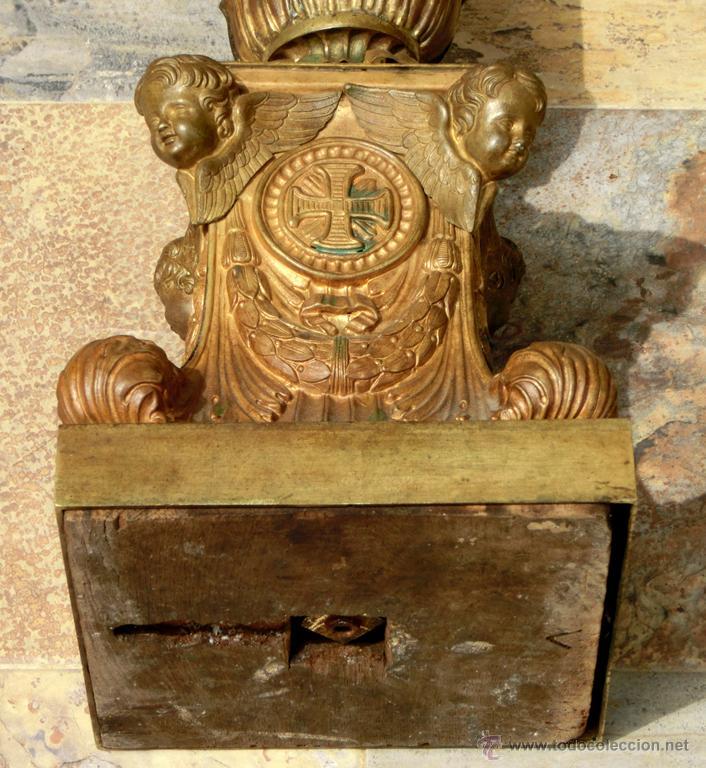 Antigüedades: ANTIGUO E IMPRESIONANTE CANDELABRO DE IGLESIA - LATÓN REPUJADO Y BRONCE - 7 BRAZOS - RELIGIOSO - Foto 23 - 49549887