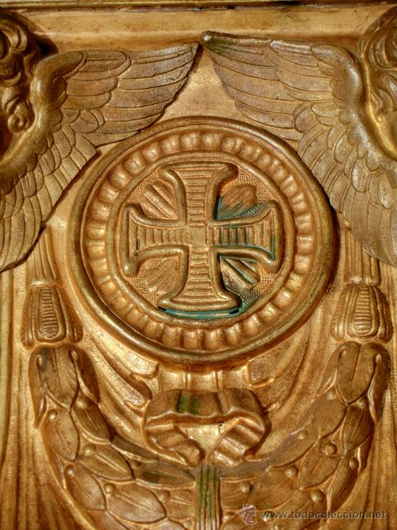 Antigüedades: ANTIGUO E IMPRESIONANTE CANDELABRO DE IGLESIA - LATÓN REPUJADO Y BRONCE - 7 BRAZOS - RELIGIOSO - Foto 26 - 49549887