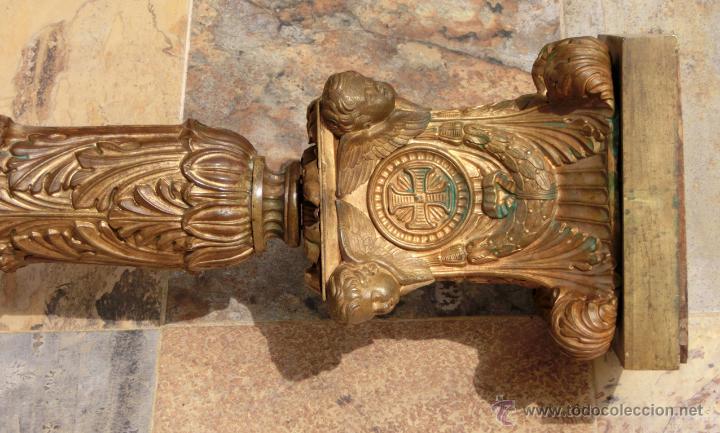 Antigüedades: ANTIGUO E IMPRESIONANTE CANDELABRO DE IGLESIA - LATÓN REPUJADO Y BRONCE - 7 BRAZOS - RELIGIOSO - Foto 33 - 49549887