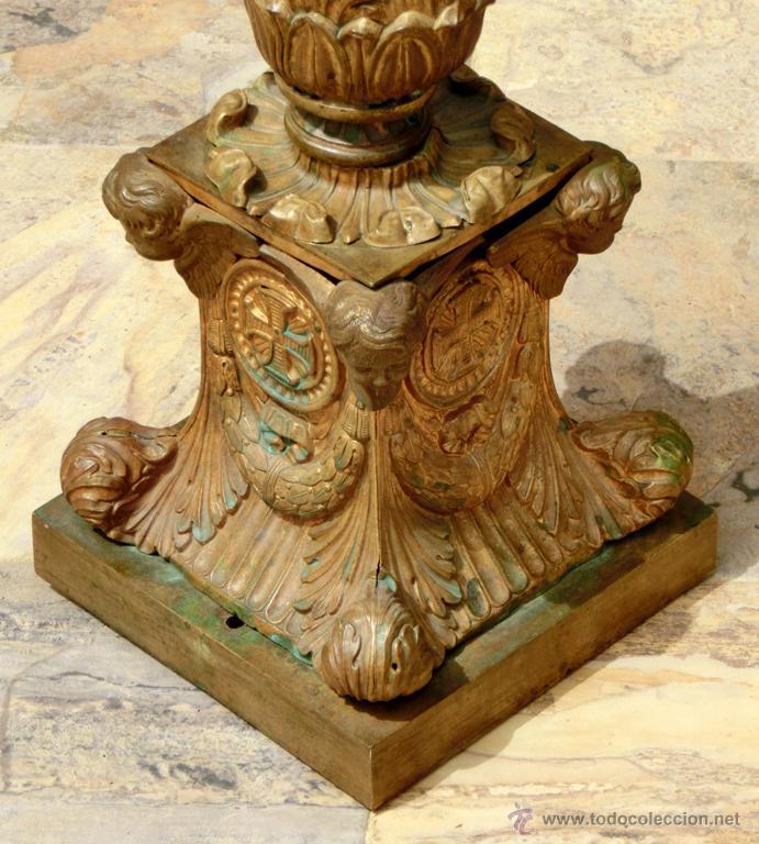 Antigüedades: ANTIGUO E IMPRESIONANTE CANDELABRO DE IGLESIA - LATÓN REPUJADO Y BRONCE - 7 BRAZOS - RELIGIOSO - Foto 35 - 49549887