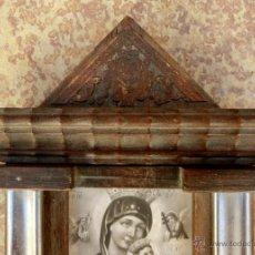Antigüedades: ANTIGUA Y BONITA BENDITERA DE MADERA TALLADA - VIRGEN PERPETUO SOCORRO. Lote 49552111