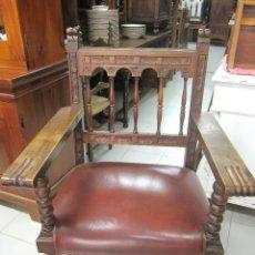 Antigüedades: SILLON DE DESPACHO DE ROBLE. Lote 49563007