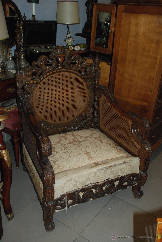 Espectacular pareja de sillones de madera talla comprar - Muebles antiguos de madera ...