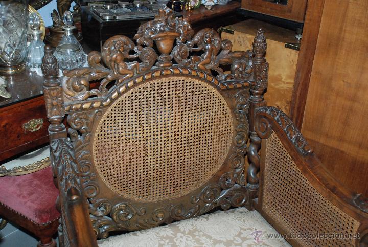 Antigüedades: ESPECTACULAR PAREJA DE SILLONES DE MADERA TALLADA Y REJILLA - Foto 2 - 49587600