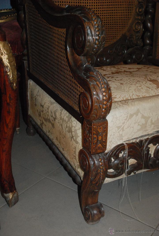 Antigüedades: ESPECTACULAR PAREJA DE SILLONES DE MADERA TALLADA Y REJILLA - Foto 3 - 49587600