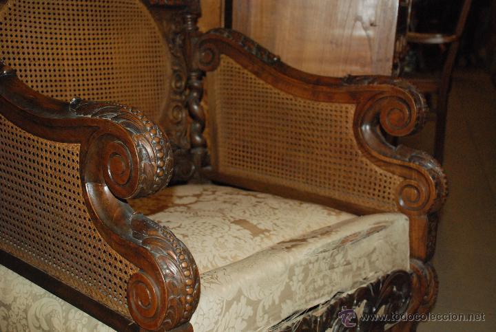 Antigüedades: ESPECTACULAR PAREJA DE SILLONES DE MADERA TALLADA Y REJILLA - Foto 4 - 49587600