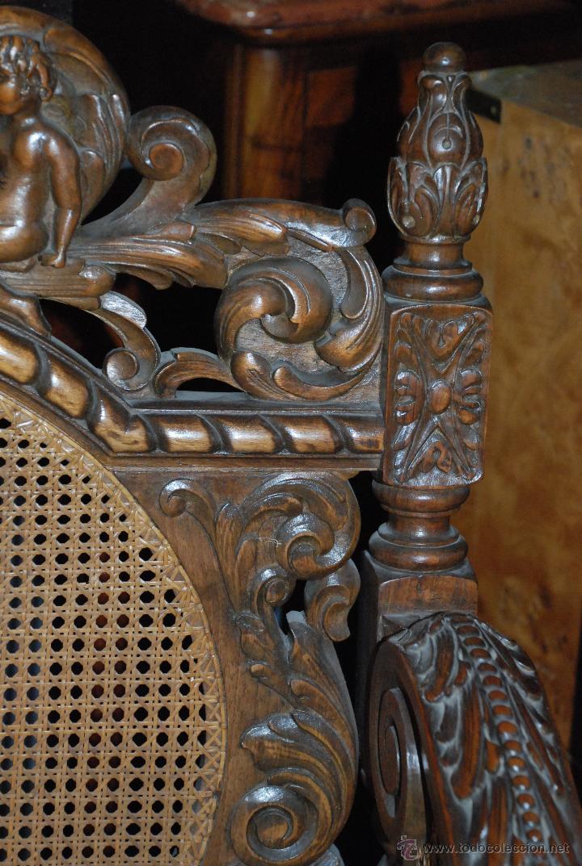 Antigüedades: ESPECTACULAR PAREJA DE SILLONES DE MADERA TALLADA Y REJILLA - Foto 7 - 49587600