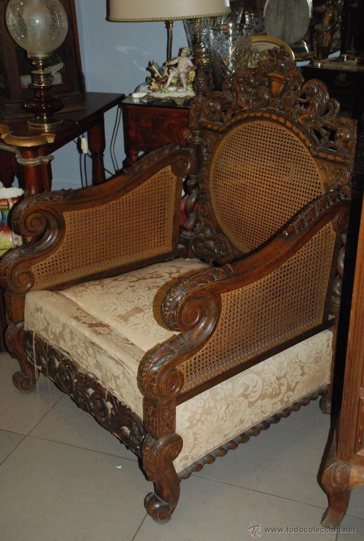 Antigüedades: ESPECTACULAR PAREJA DE SILLONES DE MADERA TALLADA Y REJILLA - Foto 8 - 49587600
