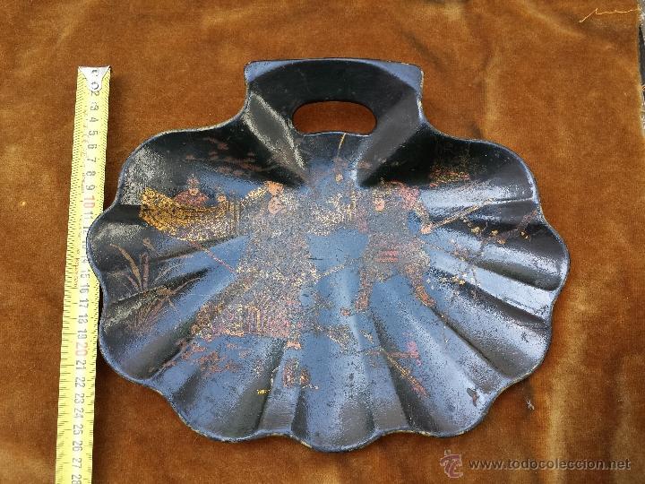 Antigüedades: Bandeja de madera Lacada con forma de concha. China - Foto 3 - 49594306