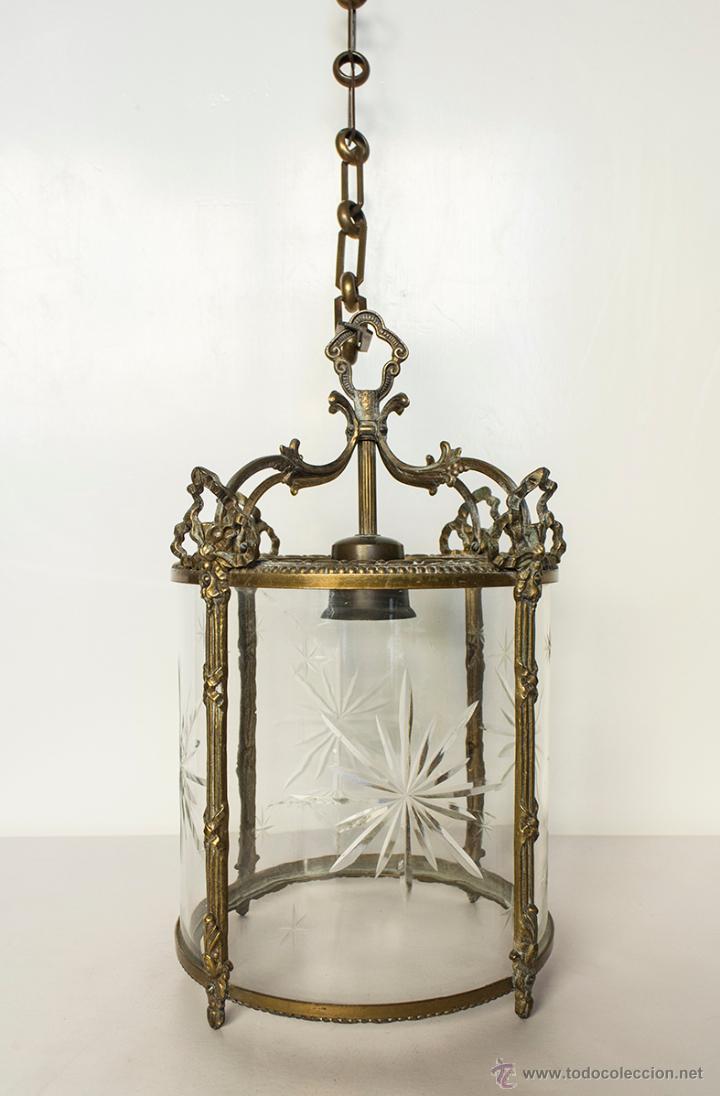 Lampara isabelina en bronce y cristal antiguo t comprar - Lamparas cristal antiguas ...