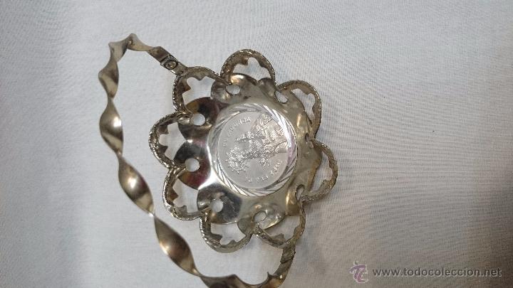 Antigüedades: BANDEJA DE METAL EN FORMA DE CESTA DE NTRA SRA DE COVADONGA - Foto 3 - 49606998