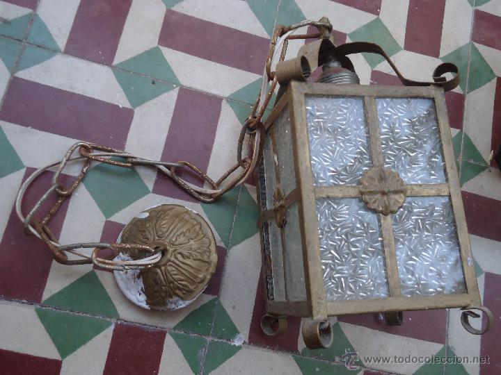 ANTIGUO PRECIOSO FARO FAROL METAL Y CRISTAL LABRADO, (Antigüedades - Iluminación - Faroles Antiguos)