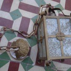 Antigüedades: ANTIGUO PRECIOSO FARO FAROL METAL Y CRISTAL LABRADO, . Lote 49617840