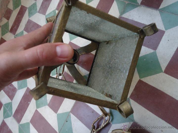 Antigüedades: ANTIGUO PRECIOSO FARO FAROL METAL Y CRISTAL LABRADO, - Foto 3 - 49617840