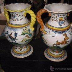 Antigüedades: PAREJA DE JARRONES DECORADOS TALAVERA MEDIDA 20 CM.. Lote 49620929