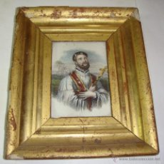 Antigüedades: ANTIGUO GRABADO RELIGIOSO EN MINIATURA. S.XIX. ILUMINADO A MANO. SAN FRANCISCO JAVIER.. Lote 49623063