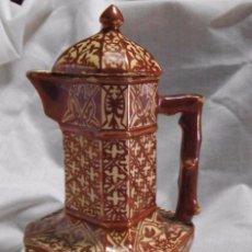 Antigüedades: ANTIGUA CAFETERA DE CERÁMICA DE REFLEJOS , MANISES , DE FORMAS GEOMÉTRICAS -- MUY RARA --. Lote 49637995