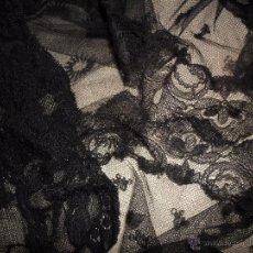 Antigüedades: ENCAJE ANTIGUO - LOTE DE 3 PIEZAS DE ANTIGUO ENCAJE NEGRO. Lote 49638160