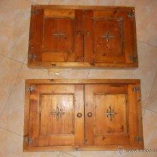 Antigüedades: PUERTAS MADERA RUSTICAS CON DIBUJO PERFORADO. Lote 49641929