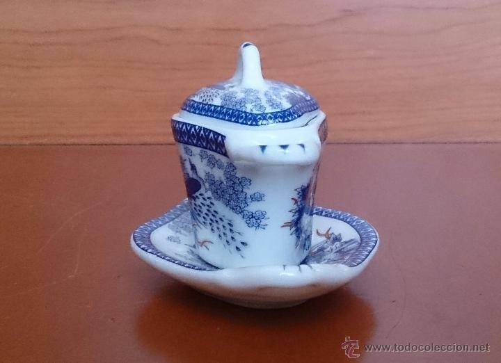 Antigüedades: Sopera en porcelana policromada de estilo oriental con bandeja , detalles en oro de 18 k, sellada . - Foto 4 - 49642409