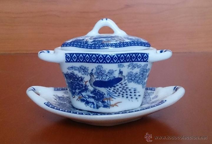 Antigüedades: Sopera en porcelana policromada de estilo oriental con bandeja , detalles en oro de 18 k, sellada . - Foto 5 - 49642409