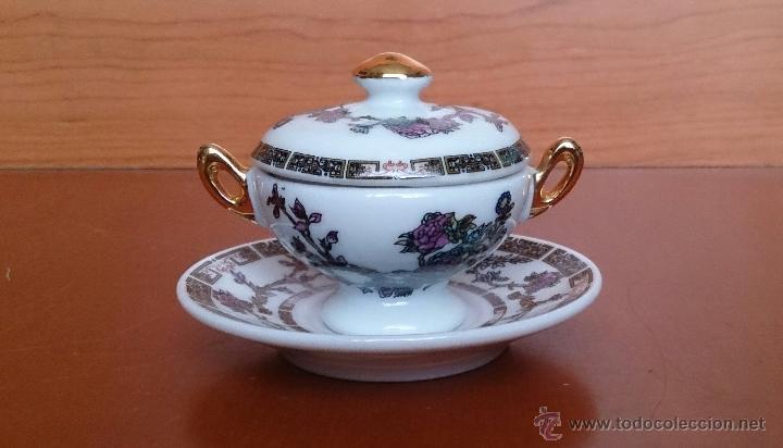 Antigüedades: Sopera en porcelana policromada estilo con estilo oriental y detalles en oro de ley 18 k, sellada . - Foto 3 - 49643687