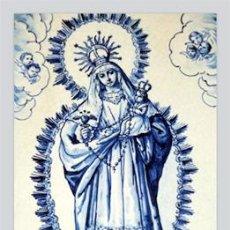 Antigüedades: PRECIOSO AZULEJO 20X30 DE LA VIRGEN CON EL NIÑO JESUS EN BRAZOS.. Lote 67108121