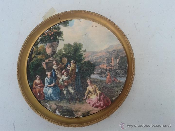 antiguo marco circular con cuadro de paisaje y - Comprar Marcos ...