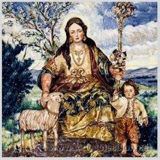 Antigüedades: AZULEJO 10X10 DE LA PASTORA DE CANTILLANA. Lote 49682832