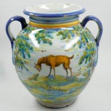 Antiguidades: GRAN JARRA DE TALAVERA, FIRMADA: HENCHE, 30 CM DE ALTURA. Lote 49683954