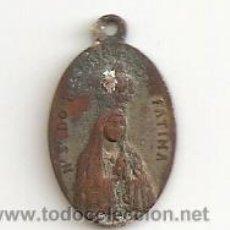 Antigüedades: BUSCADA Y ESCASA MEDALLA RELIGIOSA COBRE Nª SRA DO ROSARIO DA FATIMA R.P.N 2,10GR-20-12MM.. Lote 49687189