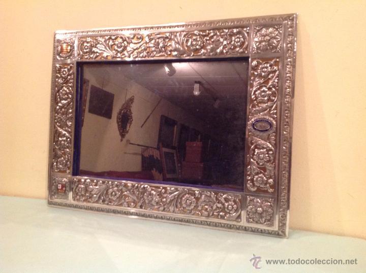 Antigüedades: Espejo Antiguo Artesanal Por Platero Con Cenefas Y Escudos Con Esmaltes Pieza Única - Foto 8 - 37801304