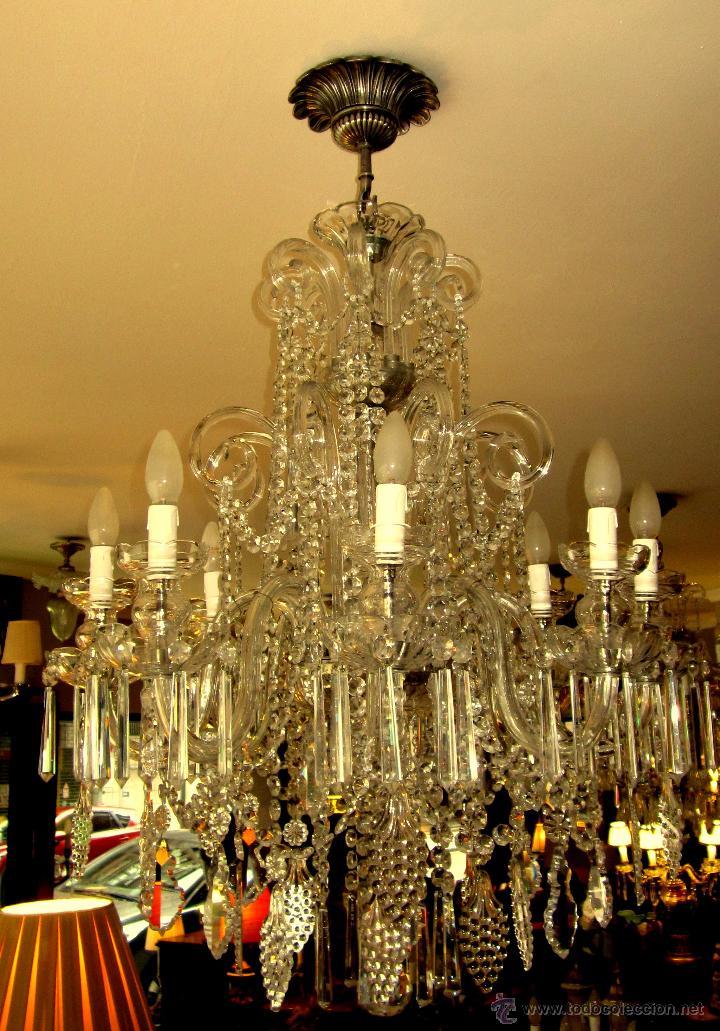 Antigüedades: SOBERBIA LAMPARA DE CRISTAL DE BOHEMIA - Foto 5 - 49691806