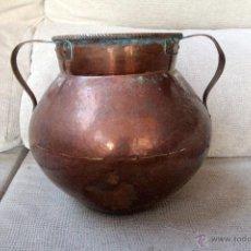 Antigüedades: ANTIGUA CALDERETA O CALDERO DE COBRE, S,XIX, 23CM DE ALTURA. Lote 49692848