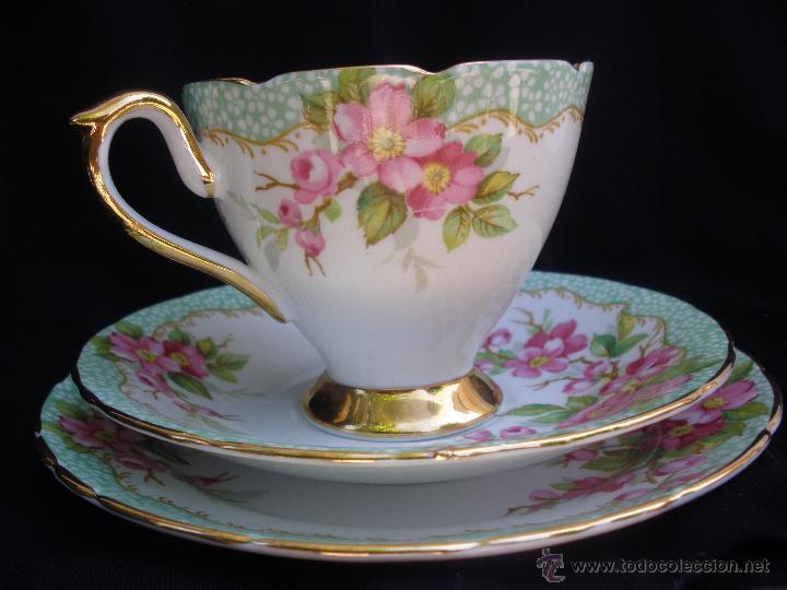 Precioso juego cafe o t taza y dos platitos de comprar for Tazas de porcelana