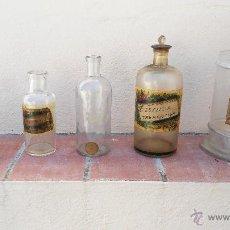 Antigüedades: ANTIGUOS BOTES, BOTELLAS, DE FARMACIA. DE CRISTAL.. Lote 49715395