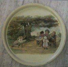 Antigüedades: BANDEJA LATA LITOGRAFIADA PLATO HOJALATA NIÑOS JARDÍN. Lote 49735586