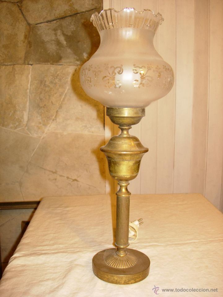 L mpara antigua metal y cristal para mesita de comprar - Lamparas cristal antiguas ...