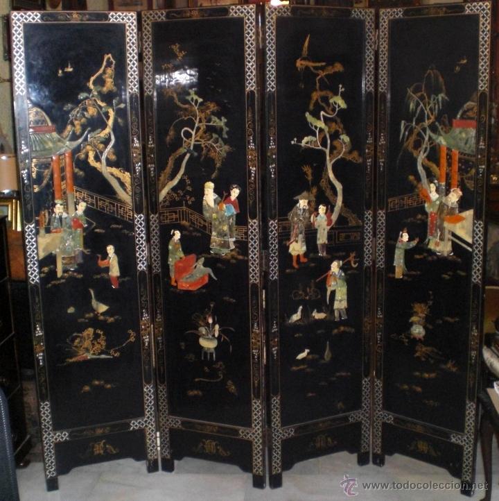 Precioso biombo chino madera lacada con motiv comprar muebles auxiliares antiguos en - Biombos chinos antiguos ...
