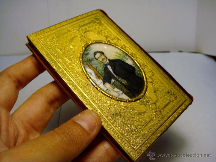 Antigüedades: Exquisito Carnet de Baile. De Lujo. S.XIX. Marfil Pintado. Filo de Oro. - Foto 3 - 49750230