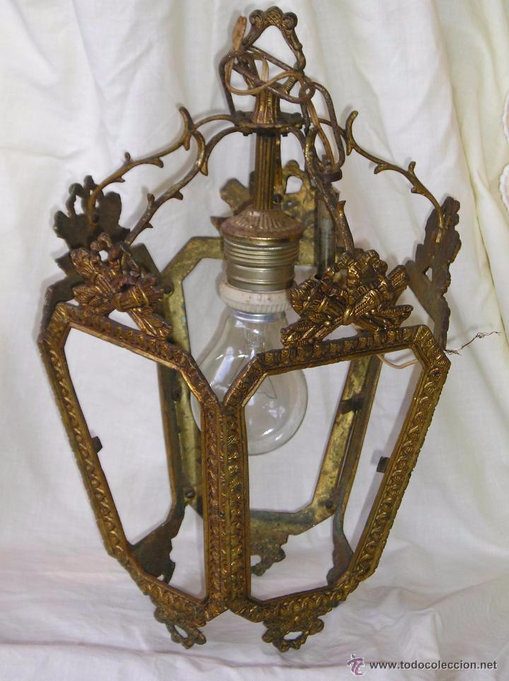 **ANTIGUA LAMPARA FAROLILLO DE BRONCE FUNCIONA PERFECTAMENTE**(33 X 20 X 10 CM) VER TODAS LAS FOTOS! (Antigüedades - Iluminación - Faroles Antiguos)