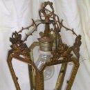 Antigüedades: **ANTIGUA LAMPARA FAROLILLO DE BRONCE FUNCIONA PERFECTAMENTE**(33 X 20 X 10 CM) VER TODAS LAS FOTOS!. Lote 49751153