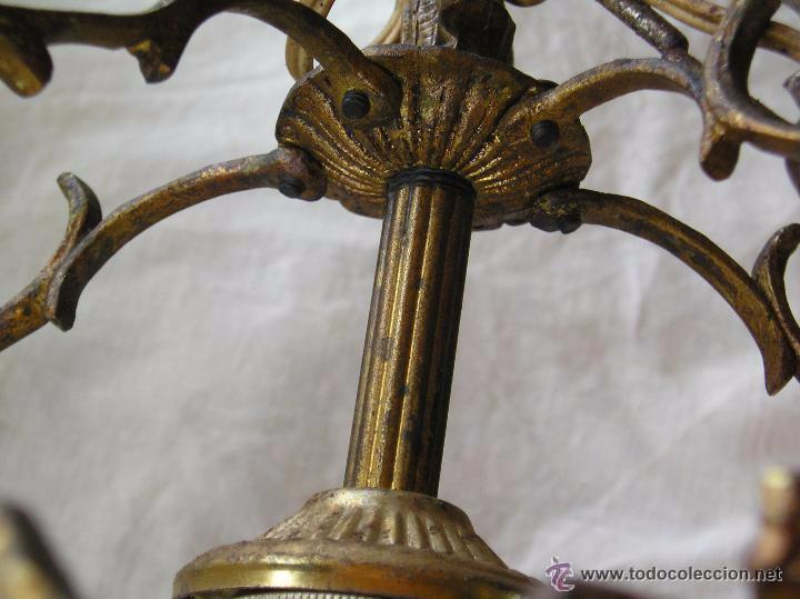 Antigüedades: **ANTIGUA LAMPARA FAROLILLO DE BRONCE FUNCIONA PERFECTAMENTE**(33 x 20 x 10 cm) VER TODAS LAS FOTOS! - Foto 4 - 49751153