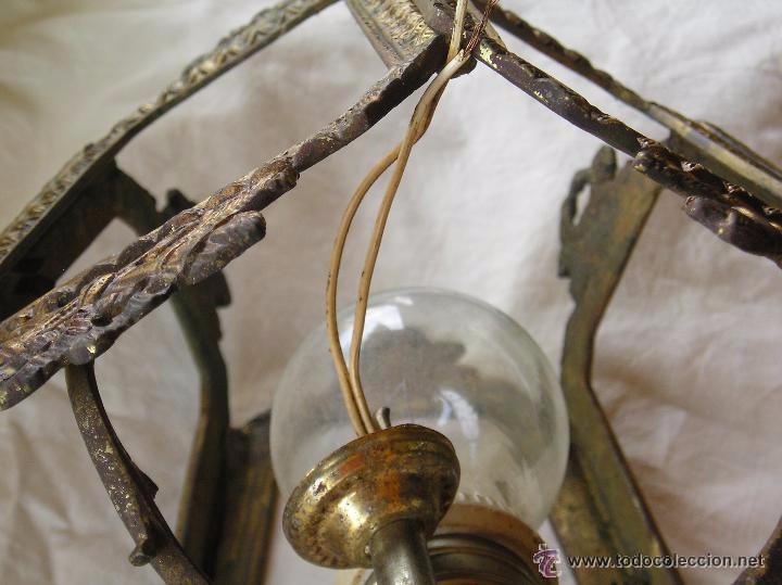 Antigüedades: **ANTIGUA LAMPARA FAROLILLO DE BRONCE FUNCIONA PERFECTAMENTE**(33 x 20 x 10 cm) VER TODAS LAS FOTOS! - Foto 5 - 49751153