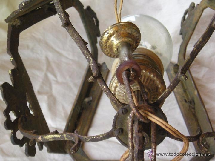 Antigüedades: **ANTIGUA LAMPARA FAROLILLO DE BRONCE FUNCIONA PERFECTAMENTE**(33 x 20 x 10 cm) VER TODAS LAS FOTOS! - Foto 6 - 49751153