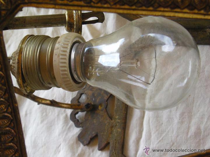 Antigüedades: **ANTIGUA LAMPARA FAROLILLO DE BRONCE FUNCIONA PERFECTAMENTE**(33 x 20 x 10 cm) VER TODAS LAS FOTOS! - Foto 8 - 49751153