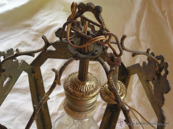Antigüedades: **ANTIGUA LAMPARA FAROLILLO DE BRONCE FUNCIONA PERFECTAMENTE**(33 x 20 x 10 cm) VER TODAS LAS FOTOS! - Foto 10 - 49751153