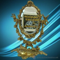 Antigüedades: S009 - ESPEJO BRONCE BISELADO DE 32 CM DE ALTO. Lote 49754010