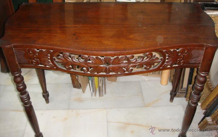 Antigüedades: Preciosa Consola Antigua. S.XIX. Caoba Maciza. - Foto 3 - 49756196