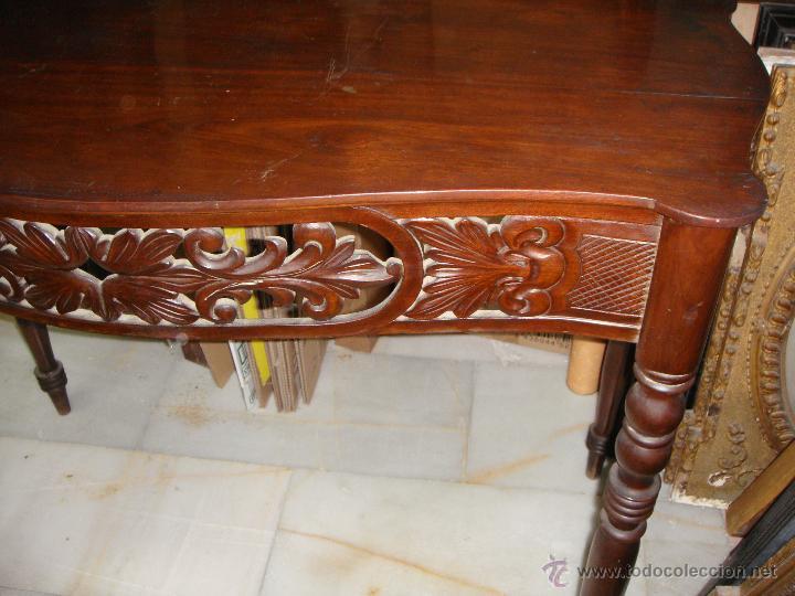 Antigüedades: Preciosa Consola Antigua. S.XIX. Caoba Maciza. - Foto 4 - 49756196